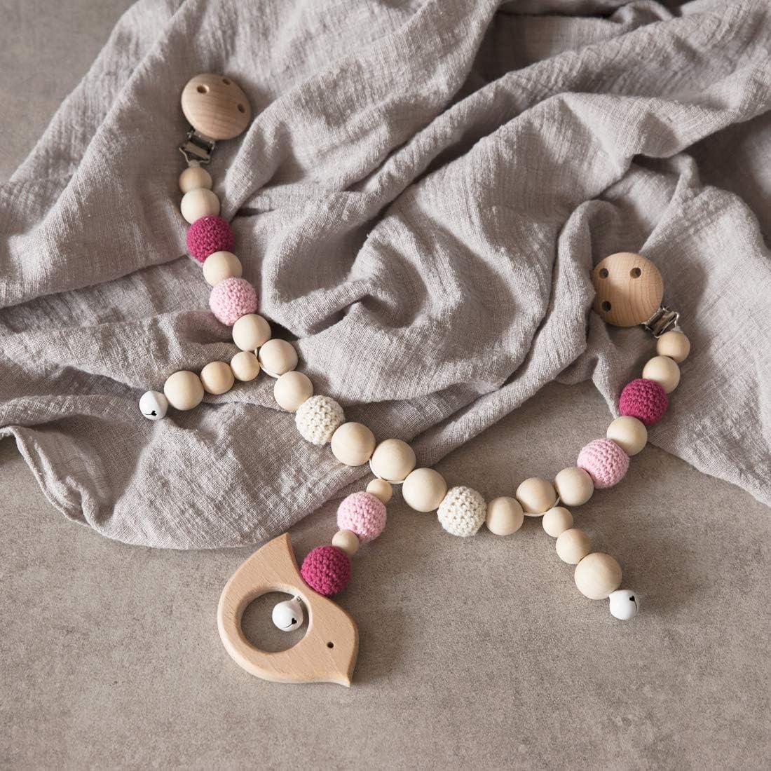 Mamimami Home 1PC Perline in Silicone Per Uccelli in Legno Per Bambini Sonaglio Giocattolo Per Masticare Giocattolo Per Masticare Giocattolo per Bambini Dentizione Montessori