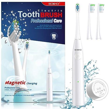 Beschoi Cepillo de dientes eléctrico ,Cepillo Eléctrico Dientes Sónico con 5 Modos, Impermeable IPX7, 2 Cabezales de cepillo, Carga magnética USB, ...