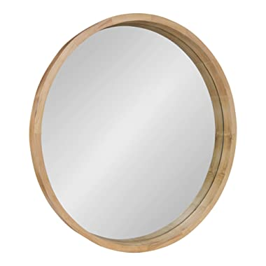 Kate and Laurel Hutton Round Decorative Large Modern Wood Frame Wall Mirror, 30 Inch Diameter, Natural Finish