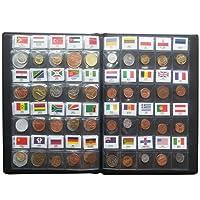 lzwin monete Set collezione in 60 Paesi 100% originale vera pelle con album per collezione paese nome e bandiera, 60 Coins