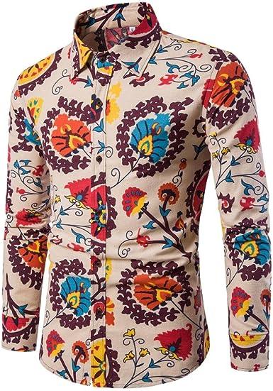 LMMVP Camiseta para Hombre Casual Manga Larga Negocio Ajustado Impresión Retro Negocio Botón Formal Blusa Tops Camisa de Hombre: Amazon.es: Ropa y accesorios