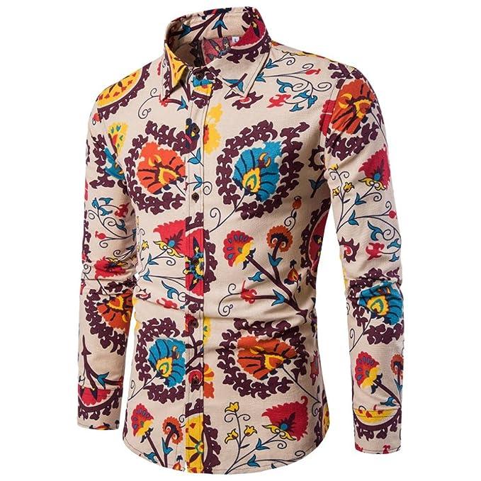 LMMVP Camiseta para Hombre Casual Manga Larga Negocio Ajustado Impresión Retro Negocio Botón Formal Blusa Tops Camisa de Hombre: Amazon.es: Ropa y ...