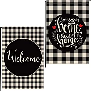 Lifesmells Home Decorative Welcome Home Sweet Home Garden Flag, Buffalo Plaid Check House Yard Outdoor Flag Black and White, Burlap Spring Summer Outside Farmhouse Holiday Flag 12.5 x 18