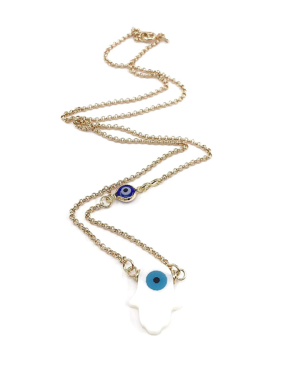 Sterling Silver Hamsa Lariat Necklace Adjustable