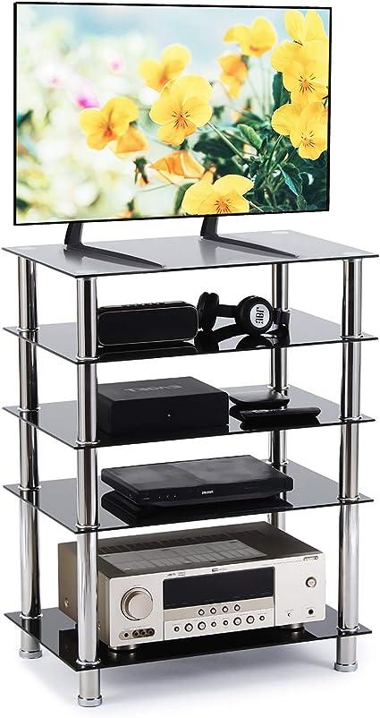 RFIVER Mueble HiFi Mesa TV Cristal con 5 Estante para Equipos de Medios Audio Video HF1002: Amazon.es: Electrónica