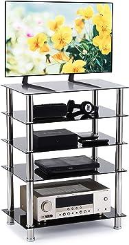 RFIVER Mueble HiFi Mesa TV Cristal con 5 Estante para Equipos ...