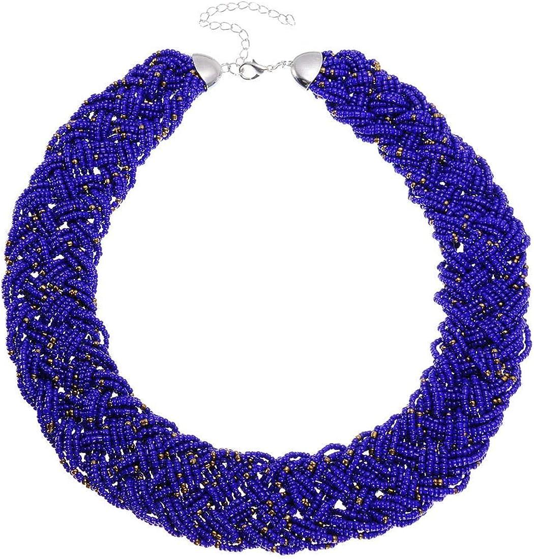 Fashion Chain Choker Collar Necklace Water Drop Olivary Resin Beads Bib Statement Chain Necklace (Jewelry Set)