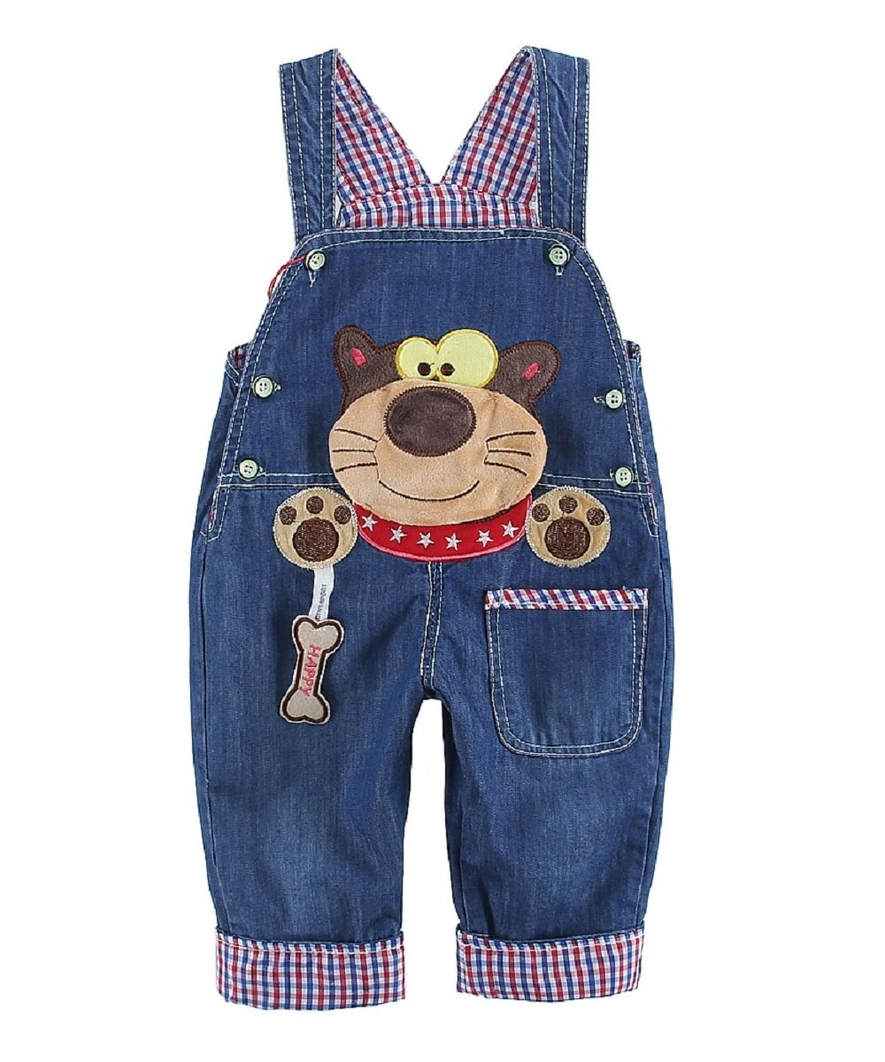 DEBAIJIA Kids Baby Denim Dungarees Boys Girls Toddler Bib Overall Jeans with Suspenders Raccoon Pattern