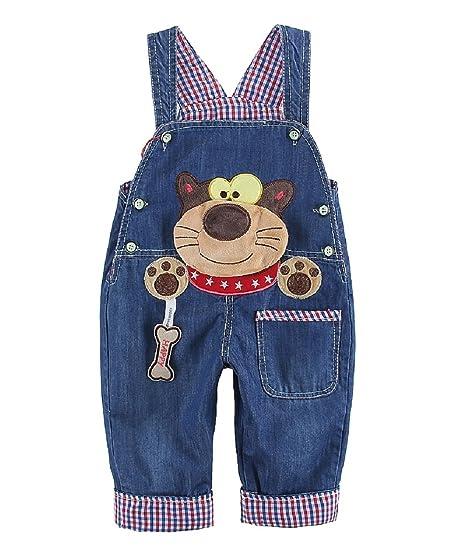a3267d4209f2d DEBAIJIA Salopette Jeans Bébé Garçons Filles Modèle Animal Enfant Denim  Pantalon Doux avec Bretelles Cartoon Raton