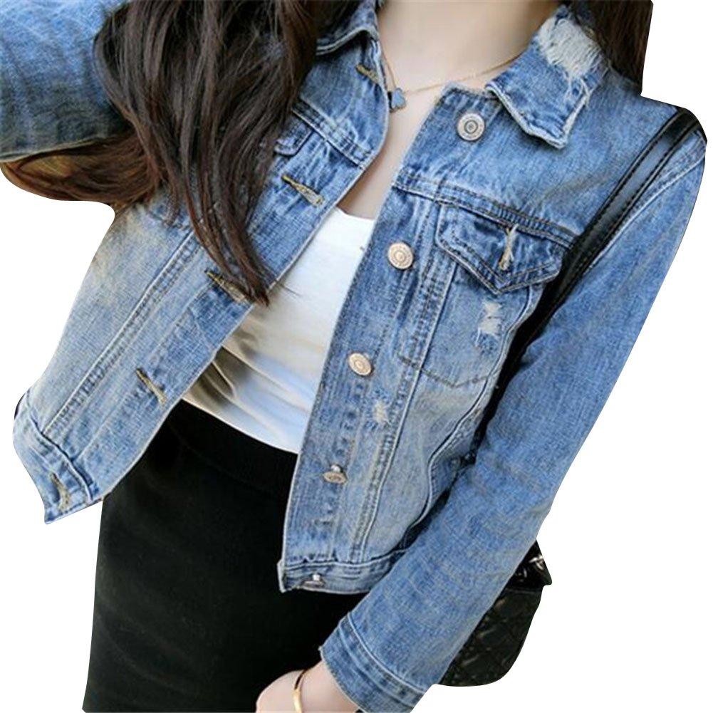 Mujeres Corto Chaquetas Jacket De Mezclilla Abrigo Denim Jackets