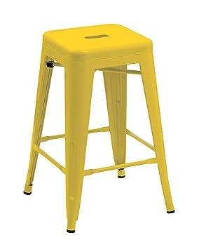 En Design Duhome Sélection Fer Tabouret Chaise Industry Couleurs De Rétro Métal Jaune Empilable Au Bar H9YEIW2D