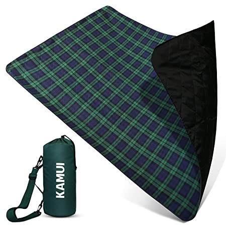 KAMUI Outdoor Waterproof Blanket – Machine Washable Stadium Blanket, Waterproof and Windproof Backing, Portable Shoulder Hand Strap Great for Festival, Park, Beach, Ground Blanket 79X55inch 201X140cm