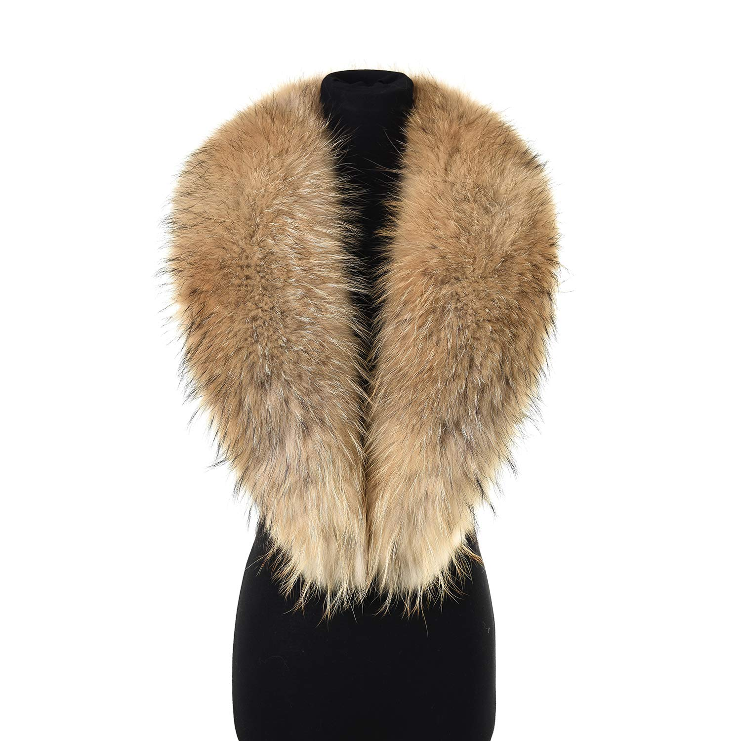 Ferand Women's Luxurious Real Raccoon Fur Collar Scarf, Detachable and Warm, Ideal for Your Coat Jacket in Winter, 110 cm: Light natural brown