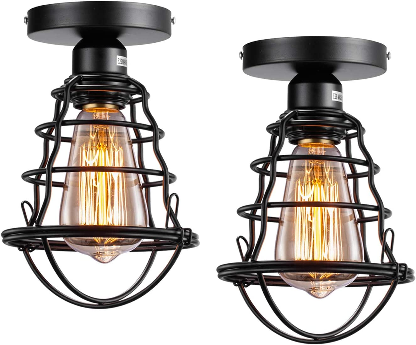 Vintage Semi Flush Mount Ceiling Light E26 E27 Base Edison Rustic Antique Metal Caged Industrial Ceiling Light Fixture For Hallway Porch Bathroom Stairway Bedroom Kitchen 2 Pack Amazon Com