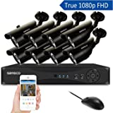 SANSCO 1080p FHD CCTV Surveillance Camera System, Smart 8 Channel DVR and (8) HD 2.0MP Indoor Outdoor Bullet Cameras, Improved Night Vision, Instant Mobile APP Access with Email Alerts, No Hard Drive