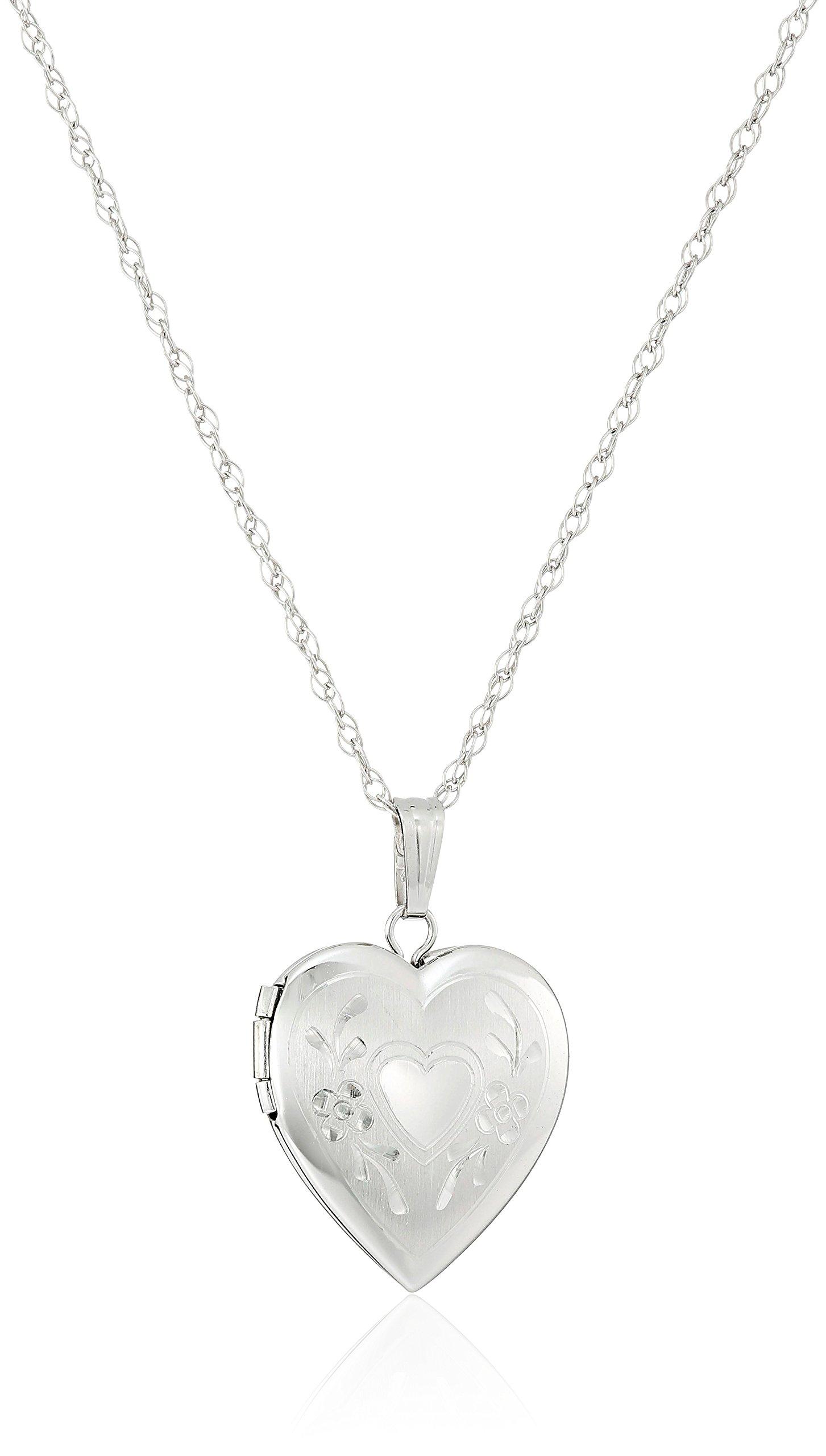 14k White Gold Engraved Heart Locket, 18''