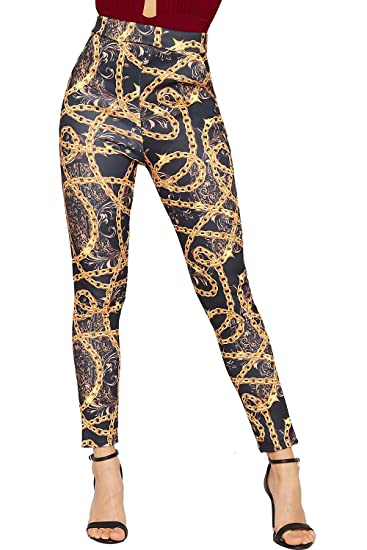 b386f6b31ca3 WearAll Women s Baroque Print Skinny Leg Trousers Jeggings Pocket Leggings  at Amazon Women s Clothing store