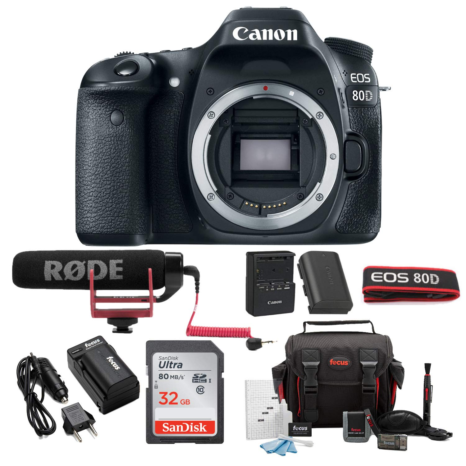 Canon EOS 80D Digital Camera: 24 Megapixel 1080p HD Video DSLR Video  Creator Bundle with 32GB SD Card Rode VideoMic GO Spare Battery & Travel  Charger