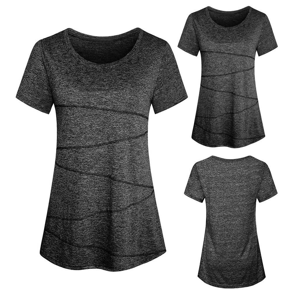 Women T-Shirts Casual Short Sleeve Round Neck Short Sleeve Lady Sports Top Black