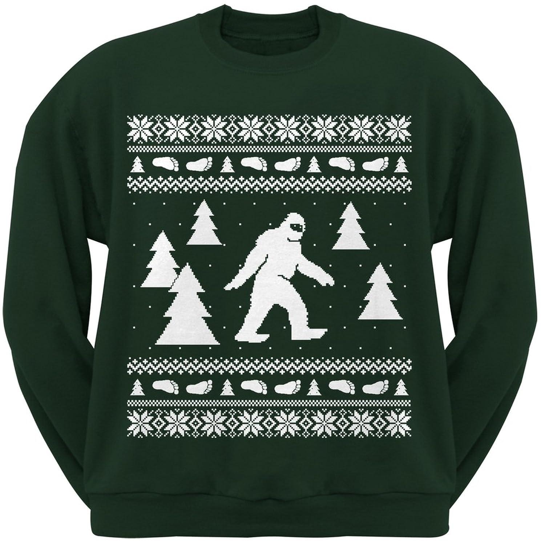 Amazon.com: Sasquatch Ugly Christmas Sweater Dark Green Crew Neck ...