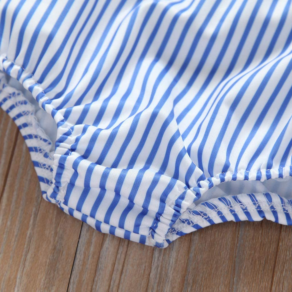Baby Girls 2 Pcs Blue White Striped Suit Clothing Sleveless Tops+Short Bubble for 0-24 Months
