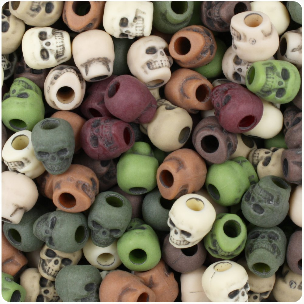 BEADTIN Camouflage Mix Antique 11mm Skull Pony Beads (150pc) The Beadery 4336816268