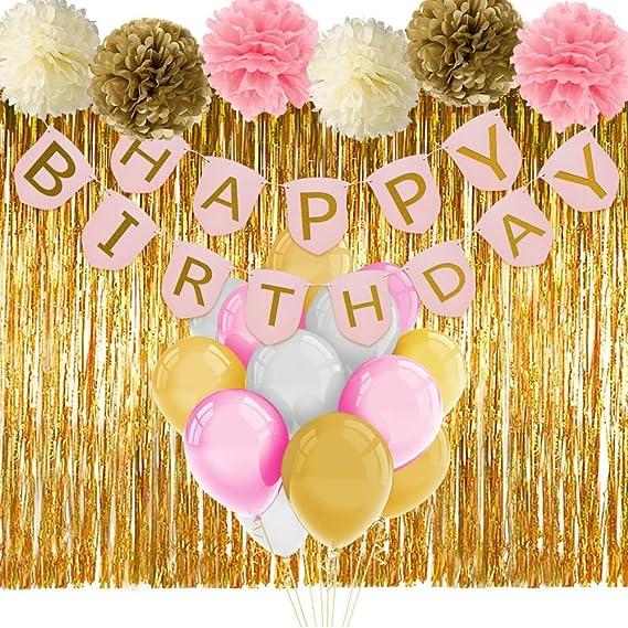 Paxcoo Rosa y Oro Decoraciones de Cumpleaños con Cumpleaños Banner Globos Tissue Flores Franja Cortina para Chicas 1ra Parte