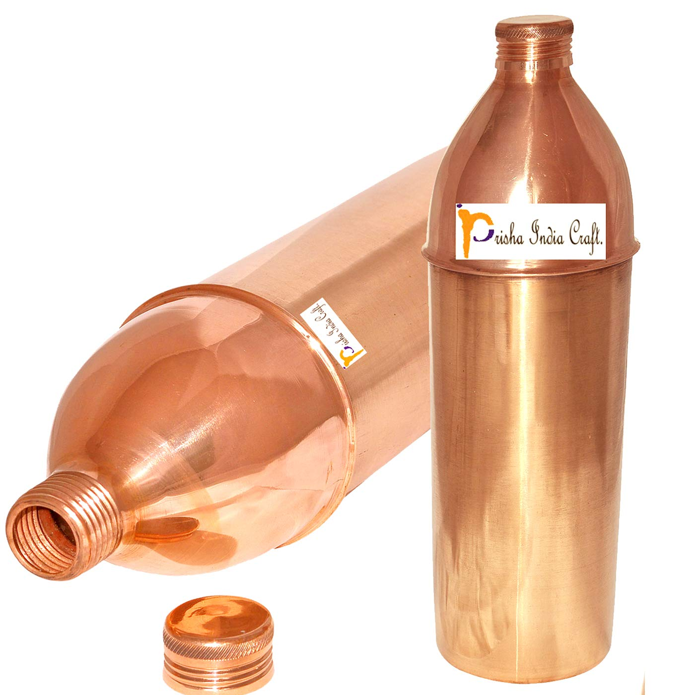 850ml / 28.74oz - Set of 2 - Prisha India Craft ® Pure Copper Water Bottle for the Refrigerator Health Benefits - Water Bottles - Handmade Christmas Gift with FREE WOODEN KEYRING IDEA