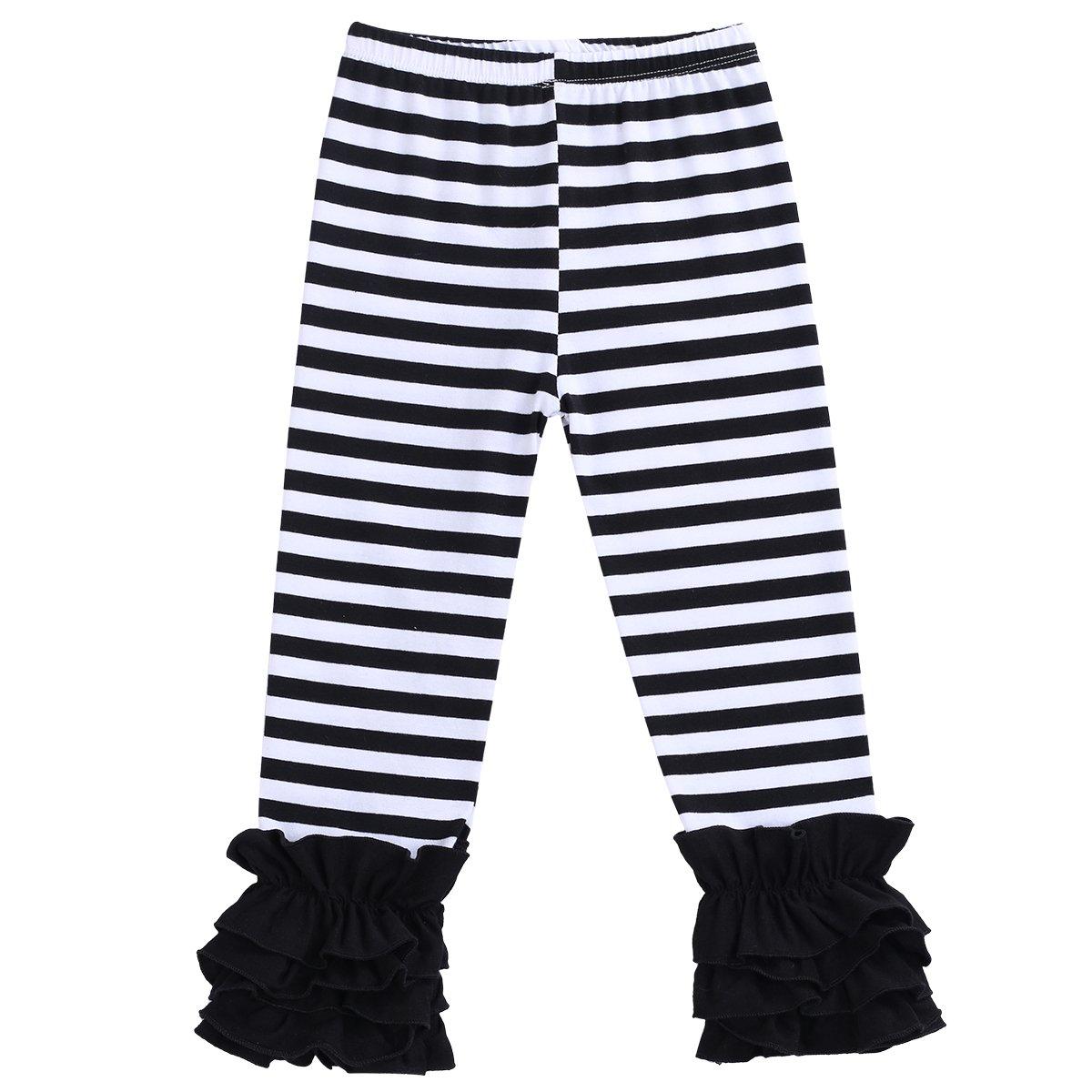 Little Girl's Double Icing Ruffle Leggings Triple Cotton Boutique Elastic Waist Slacks Joggers Activewear