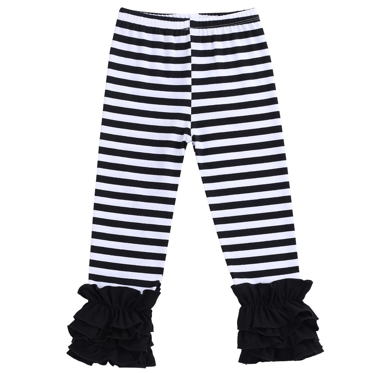 Little Girl's Double Icing Ruffle Leggings Toddler Girl Triple Cotton Boutique Elastic Waist Slacks Joggers Activewear Black Striped 12-18 Months