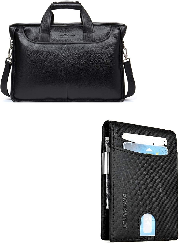 BOSTANTEN Leather Briefcase Laptop Case Handbag Business Bags for Men Black+BOSTANTEN Leather Wallets for Men Bifold Money Clip Slim Front Pocket RFID Blocking Card Holder Black