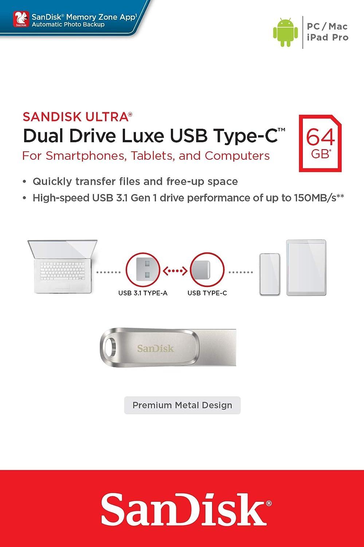 SanDisk Ultra 1TB Dual Drive Luxe Type-C 150MB//s USB 3.1 Gen 1