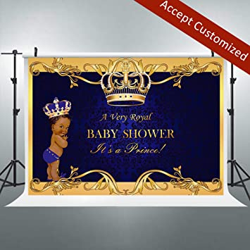 Riyidecor Crown Royal Prince Backdrop Kids Black Africa Boy Photography  Background 7x5ft Studio Baby Shower Blue Yellow Newborn Props Photo  Birthday