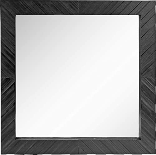 Stonebriar SB-6272A Square Textured Black Wooden Chevron Hanging Wall Mirror