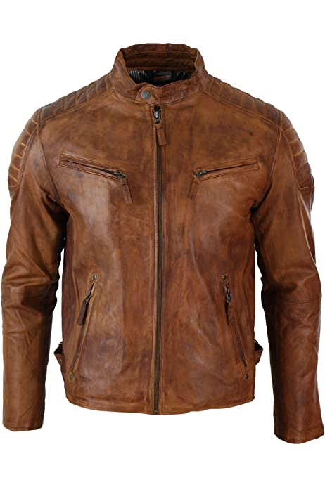 Mens Real Leather Hood Duffle Safari Jacket Long 3//4 Fur Washed Vintage Brown