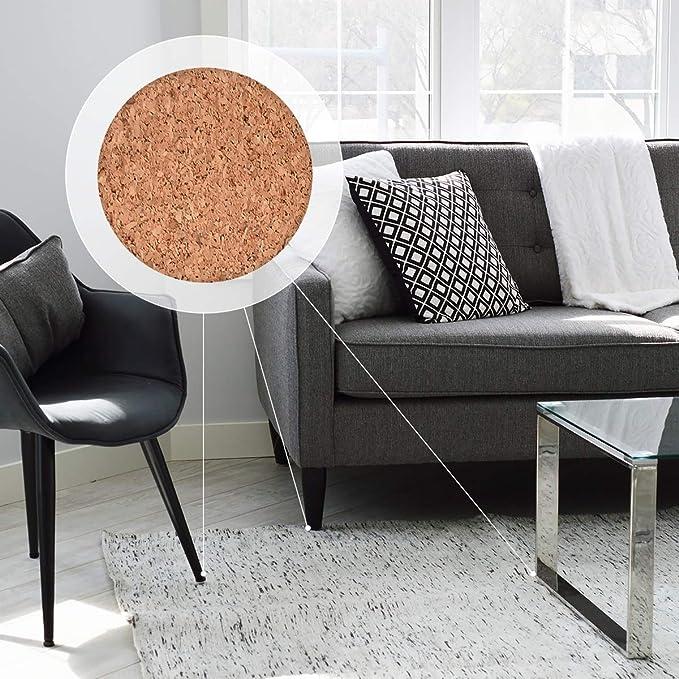 Navaris 215 almohadillas de corcho autoadhesivas para muebles - Protectores de corcho en 6 diferentes formas y tamaños - Protección para el suelo