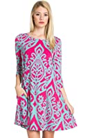 Women's Loose Fit 3/4 Sleeve Tunic Top Dress