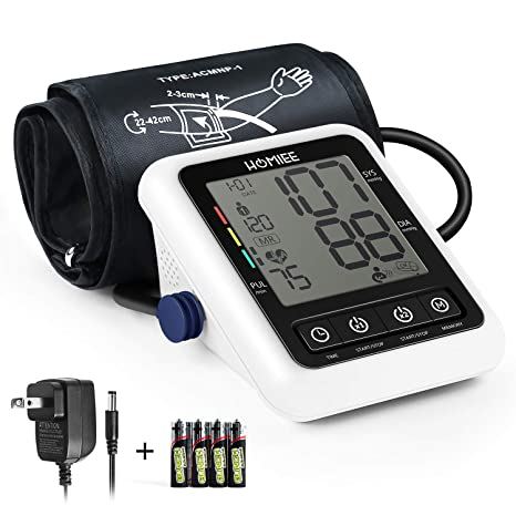 Amazon.com: Blood Pressure Machine with AC Adapter, HOMIEE Blood Pressure Monitor with AFIB Detection, 2 Users 240 Memories, 2.4