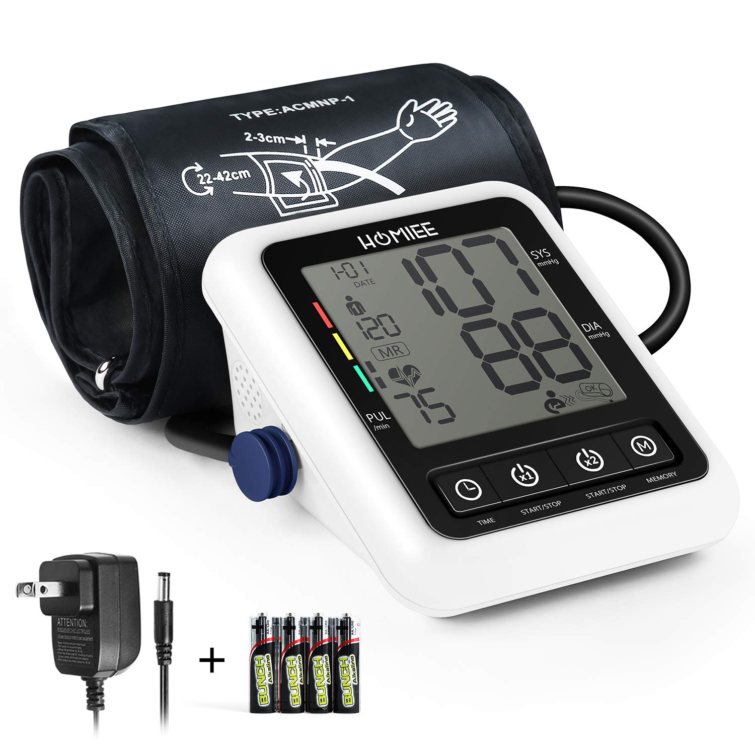 Blood Pressure Machine with AC Adapter, HOMIEE Blood Pressure Monitor with AFIB Detection, 2 Users 240 Memories, 2.4'' LCD Display & 22-42CM Large Arm Cuff, 4X AA Batteries Included, White
