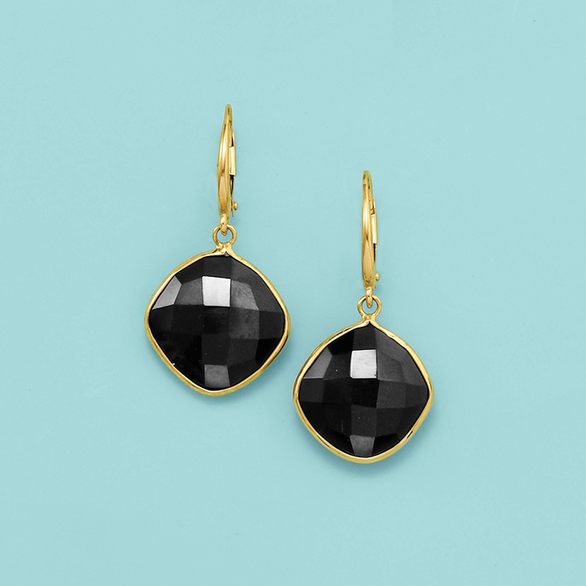 Ross-Simons 14mm Black Onyx Drop Earrings in 14kt Yellow Gold by Ross-Simons (Image #3)