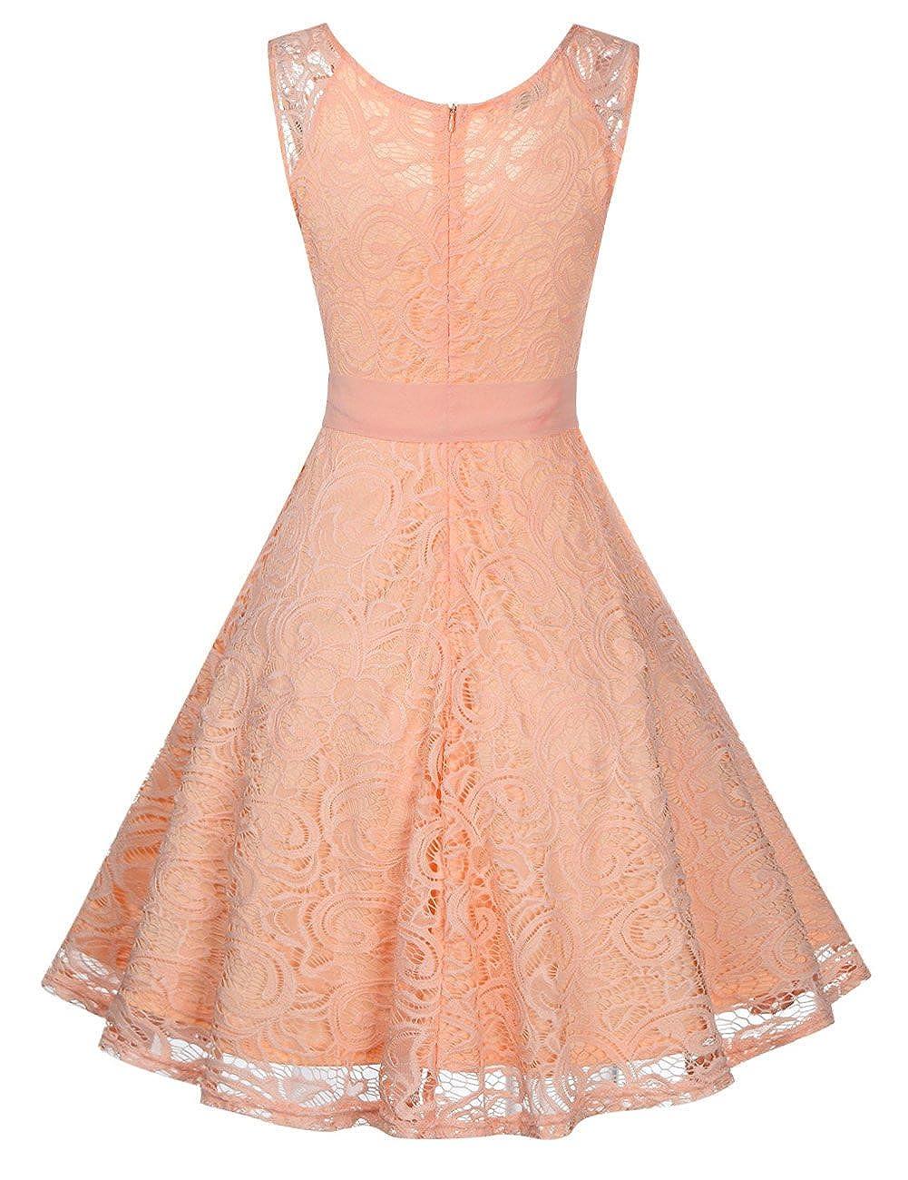 KOJOOIN Women Vintage Bridesmaid Dress Lace Dress Wedding Evening Cocktail Prom Dresses: Amazon.co.uk: Clothing