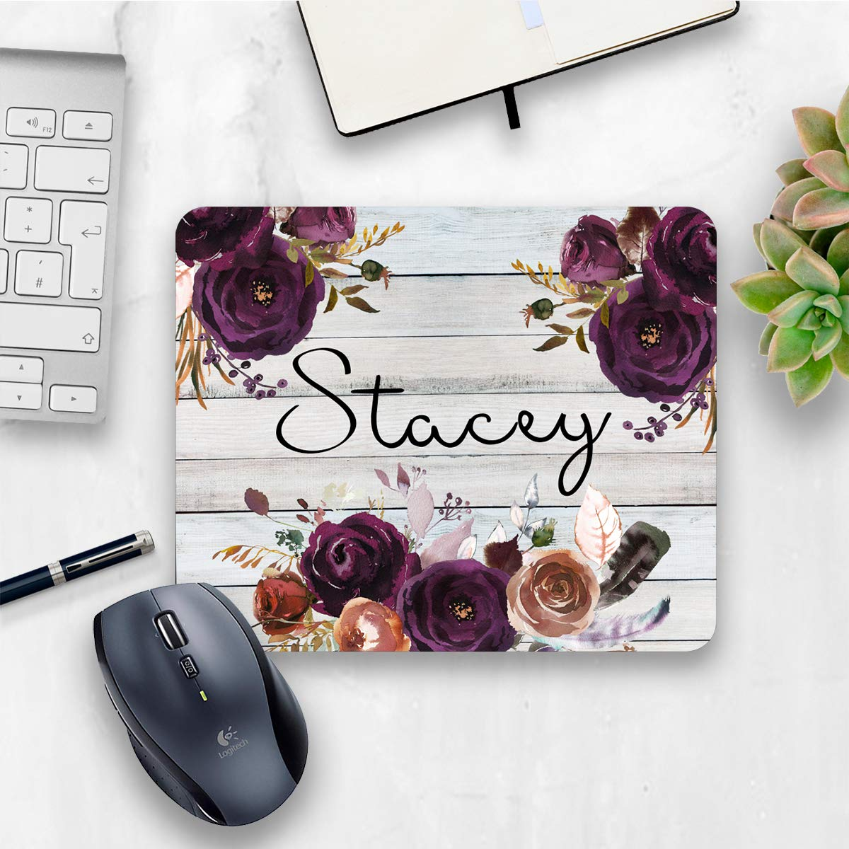 Personalized purple rustic floral mouse pad, floral rose home or office decor desk accessory gift for co-worker appreciation 71NvIhEBkDL