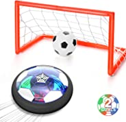 WisToyz Kids Toys Hover Soccer Ball Set Rechargeable Air Soccer, Indoor Soccer Ball with LED Light and Foam Bumper, Toys for