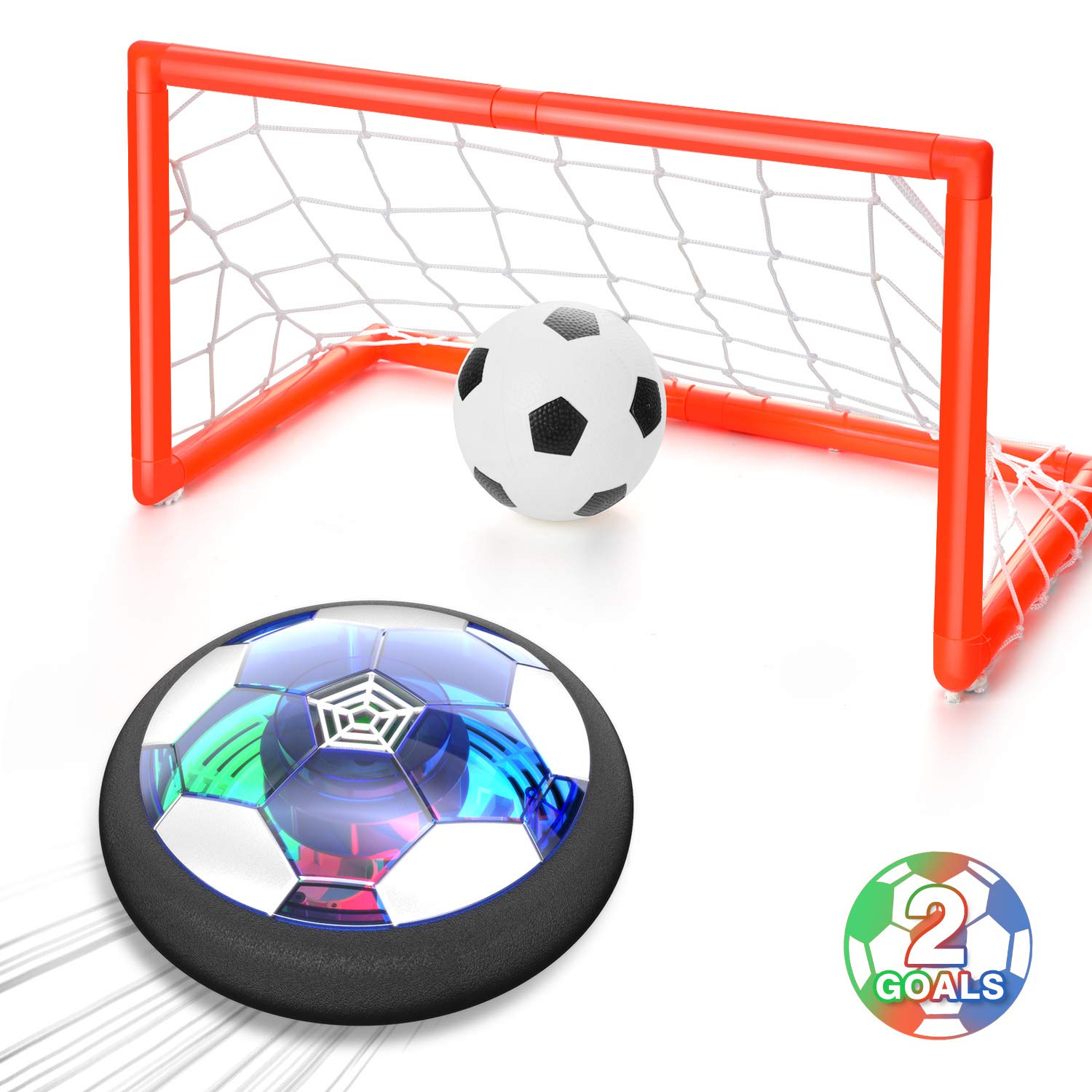 WisToyz Kids Toys Hover Soccer Ball Set Rechargeable Air Soccer, Indoor Soccer Ball with LED Light and Foam Bumper, Toys for Boys, Girls, Toddler, Including an Inflatable Ball (No AA Battery Needed) by WisToyz