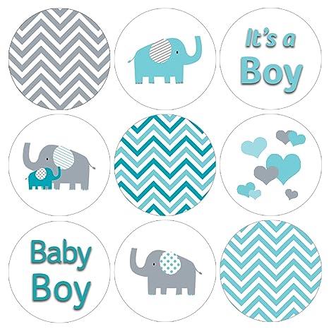 Amazon.com: Teal Azul y Gris Elefante Niño Bebé Ducha ...