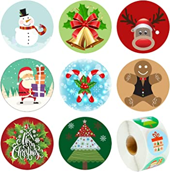 Renna Pupazzo di Neve Rotolo di Adesivi per Babbo Natale Adesivi per bomboniere Elcoho 600 Pezzi di Adesivi Natalizi Assortiti