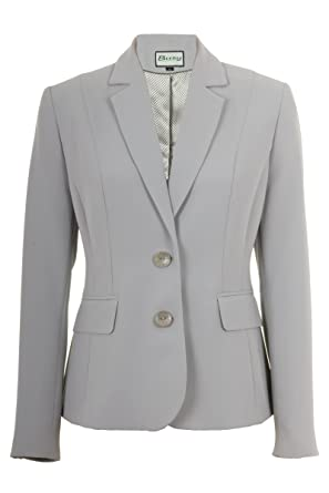 Busy Clothing Womens Silver Grey Suit Jacket: Amazon.co.uk: Clothing