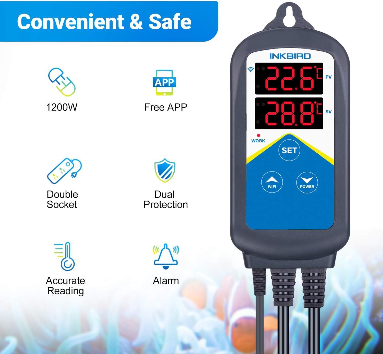 Inkbird WiFi ITC-306A Acuarios Temperatura Controlador, 1200W ...