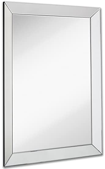 Large Framed Wall Mirror with 3 Inch Angled Beveled Mirror Frame | Premium Silver Backed Glass Panel Vanity, Bedroom, or Bathroom | Mirrored Rectangle Hangs Horizontal or Vertical (30