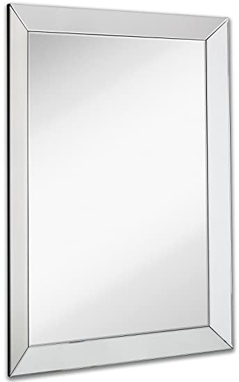 Large Framed Wall Mirror With 3 Inch Angled Beveled Frame